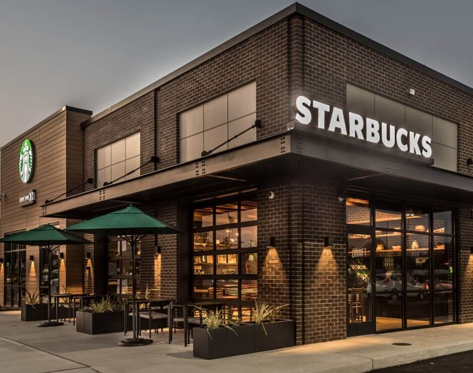 """Starbucks mission statement is: """"To inspire and nurture the human spirit- one person, one cup, and one neighborhood at a time."""""""