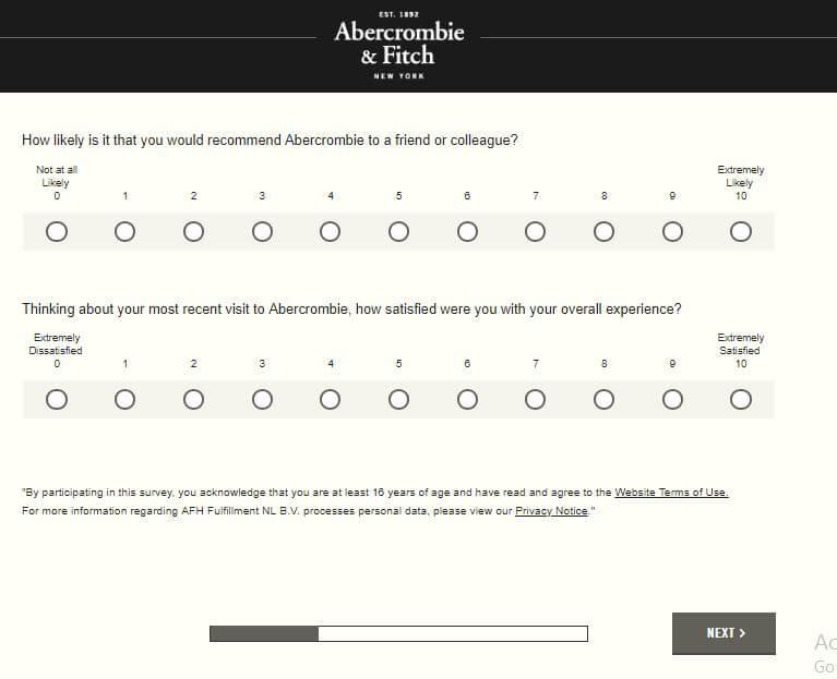 hollister survey for $10 off